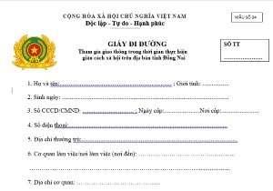 Mẫu giấy đi đường của CAND 04 mới nhất của UBND tỉnh Đồng Nai